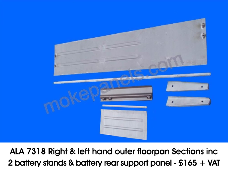 ALA 7318 RIGHT & LEFT HAND OUTER FLOORPAN SECTIONS INC 2 BATTERY STANDS & BATTERY REAR SUPPORT PANEL